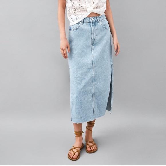 ea4ab2b9d Zara Skirts | Denim Midi Skirt With Side Slits | Poshmark